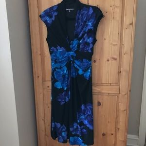 Jones Wear black/blue floral dress size 12